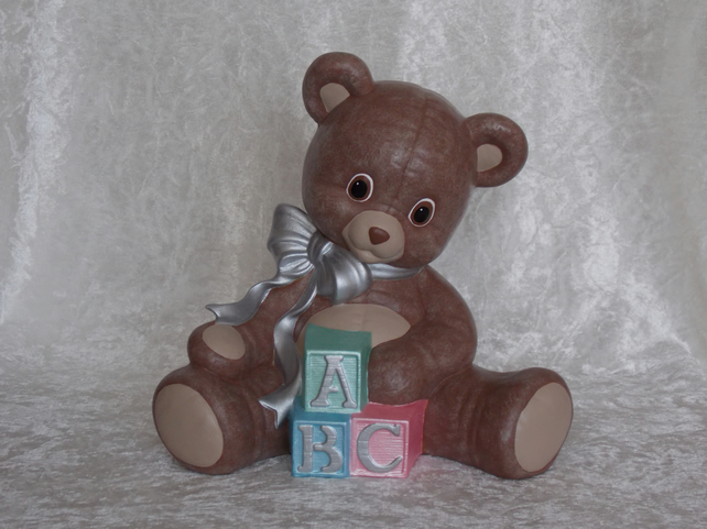 Hand Painted Large Sitting Ceramic Brown Teddy Bear With ABC Blocks Ornament.