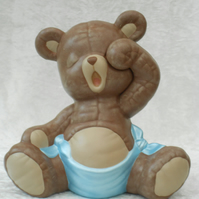 Hand Painted Sitting Ceramic Sleepy Brown Teddy Bear In Blue Nappy Ornament.