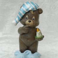 Ceramic Hand Painted Brown Blue White Bed Time Bear Animal Figurine Ornament.