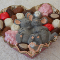 Ceramic Hand Painted Pink Gold Box Chocolates Grey Mice Jewellery Trinket Box.