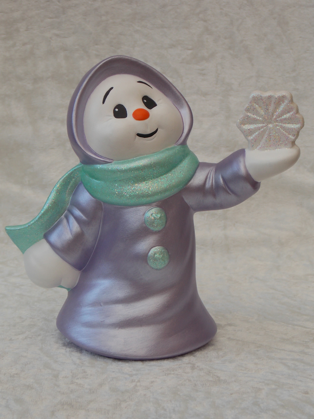 Hand Painted Ceramic Lilac Snow Lady & Snowflake Christmas Figurine Ornament.