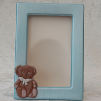 Hand Painted Ceramic Cute Brown Teddy Bear On Baby Blue Photo Picture Frame.
