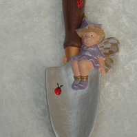 Hand Painted Ceramic Garden Trowel & Cute Lilac Gold Fairy & Ladybirds Ornament.