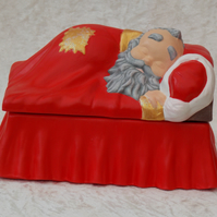 Hand Painted Ceramic Father Christmas Santa In Bed Cookie Candy Box Decoration.