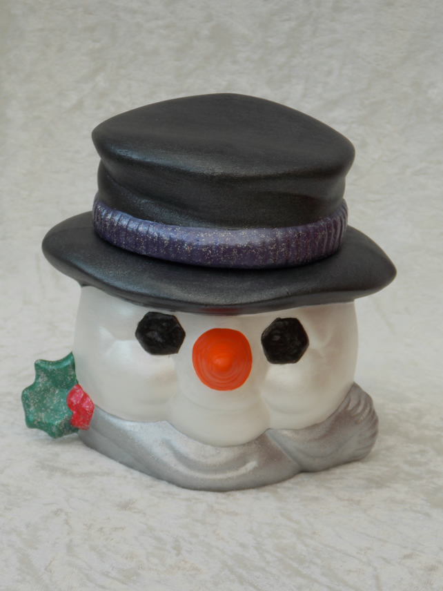 Hand Painted Ceramic White Snowman Head Christmas Cookie Candy Jar Container.