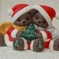 Hand Painted Sitting Ceramic Brown Bears With Green Tree Christmas Decoration.