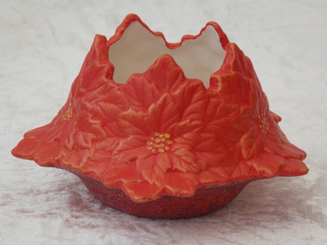 Hand Painted Ceramic Red Gold Poinsettia Flower Christmas Candle Tealight Holder