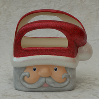 Ceramic Hand Painted Father Christmas Xmas Santa Gift Bag Box Table Decoration.