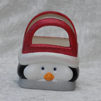 Ceramic Hand Painted Christmas Xmas Penguin Gift Bag Box Basket Table Decoration
