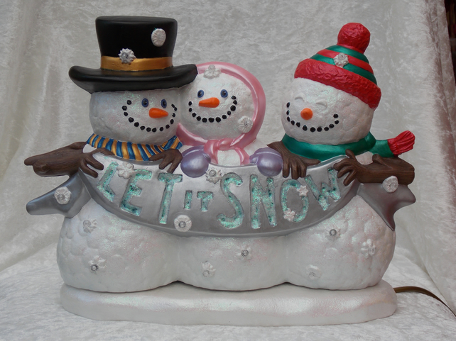 Large Ceramic Hand Painted Christmas Xmas Snow People LED Table Lamp Decoration.