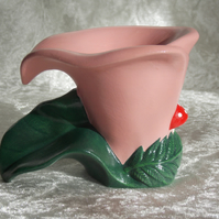 Ceramic Hand Painted Pink Calla Lily Flower Home Garden Candle Tealight Holder.