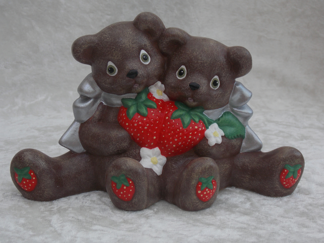 Ceramic Hand Painted Brown Bears & Red Strawberries Animal Figurine Ornament.