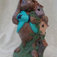 Ceramic Hand Painted Brown Bunny Rabbit & Bird Boxes Animal Figurine Ornament.