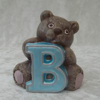 Ceramic Hand Painted Small Alphabet Brown Bear Blue Letter B Figurine Ornament.