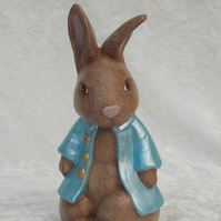 Ceramic Hand Painted Brown Bunny Rabbit Blue Jacket Animal Figurine Ornament.
