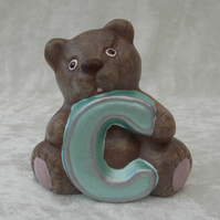 Ceramic Hand Painted Small Brown Alphabet Bear C Animal Figurine Ornament.