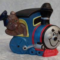 Ceramic Hand Painted Brown Teddy Bear Blue Train Engine Ornament.