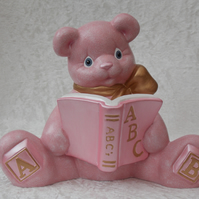Ceramic Hand Painted Pink Teddy Bear Animal Figurine Money Bank Savings Bank.