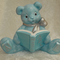 Ceramic Hand Painted Baby Blue Silver Teddy Bear ABC Book Money Box Bank.