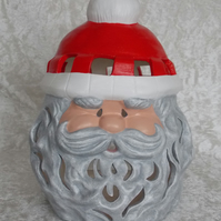 Ceramic Hand Painted Large Father Christmas Santa Candle Holder Decoration.