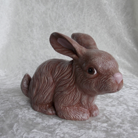 Ceramic Hand Painted Cute Brown White Bunny Rabbit Animal Figurine Ornament.