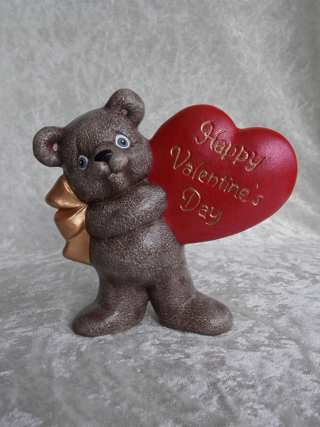Ceramic Hand Painted Brown Bear Red Valentine Heart Animal Figurine Ornament.