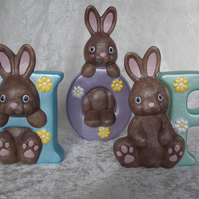 Ceramic Hand Painted 'HOP' Letters Word Brown Bunny Rabbits Animal Ornament Set.