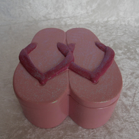 Hand Painted Ceramic Cute Pink Glittery Flip Flop Sandals Jewellery Trinket Box.