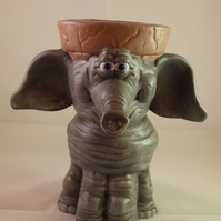 Ceramic Hand Painted Grey Elephant Animal Figurine Plant Flower Herb Pot.