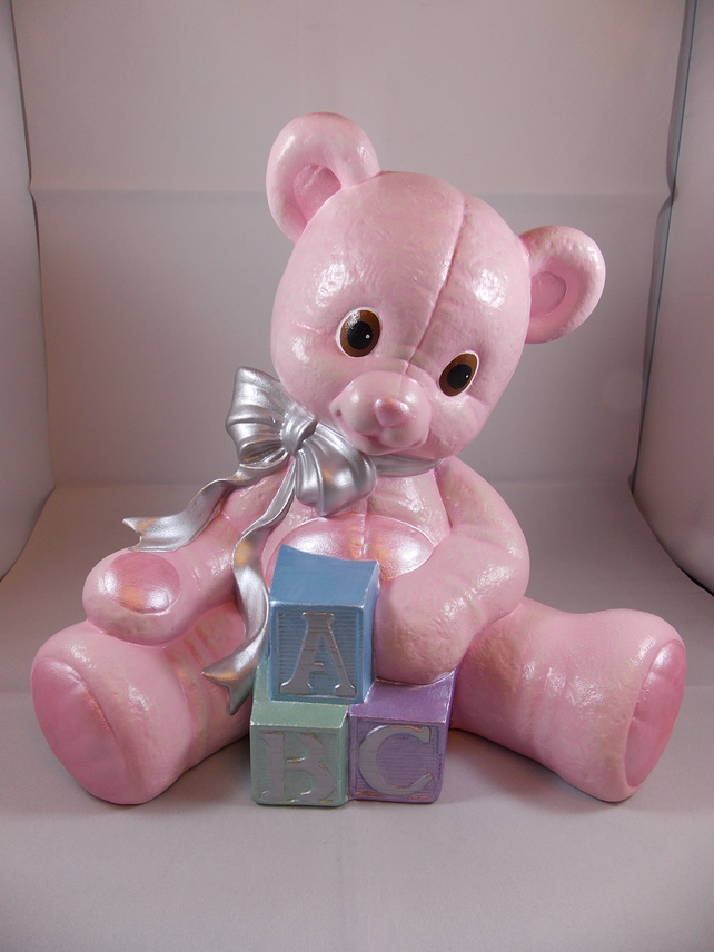 Large Ceramic Hand Painted Baby Pink ABC Teddy Bear Nursery Figurine Ornament.