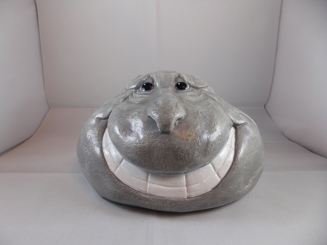 Grey Ceramic Hand Painted Rock Stone Flower Herb Garden Plant Pot Container.