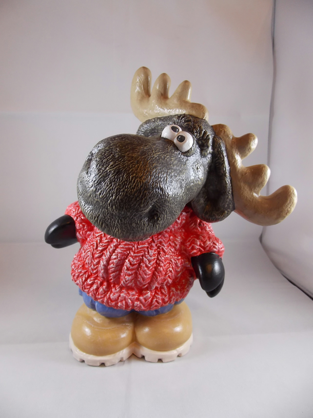 Ceramic Hand Painted Reindeer Moose Animal Figurine Money Box Savings Bank.
