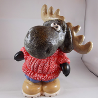 Ceramic Hand Painted Brown Moose Red Jumper Animal Figurine Money Box Bank.