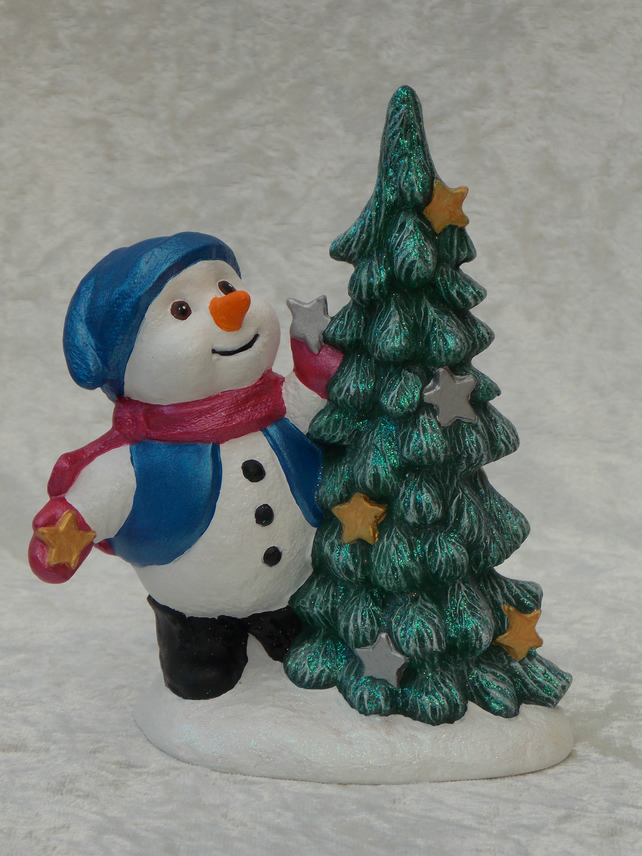 Ceramic Hand Painted Glittery Christmas Xmas Tree & Snowman Ornament Decoration.