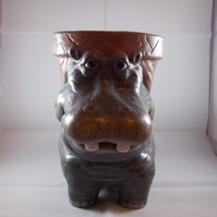 Ceramic Hand Painted Grey Hippopotamus Animal Garden Flower Herb Plant Pot.
