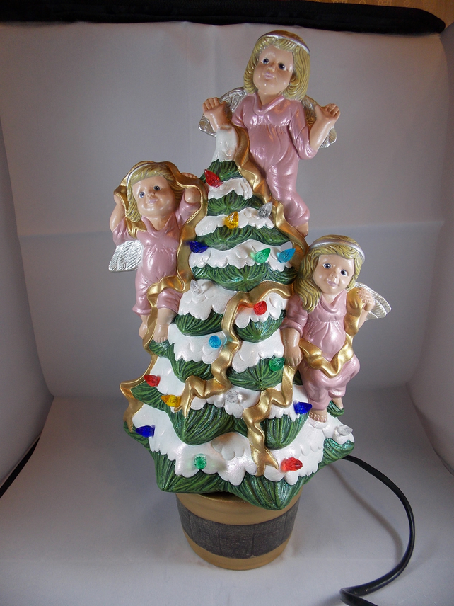 Ceramic Hand Painted Green Snowy Christmas Xmas Tree Pink Angels Table Lamp.