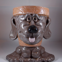 Ceramic Hand Painted Brown Dog Garden Home Flower Herb Plant Pot Container.