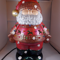 Ceramic Hand Painted Large Father Christmas Santa Figurine Table Lamp Decoration