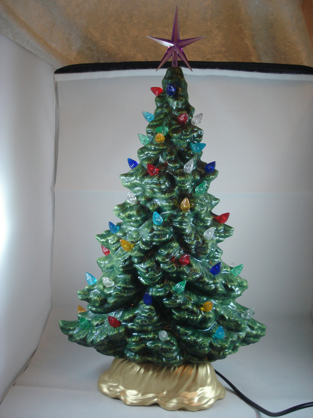 Ceramic Hand Painted Tall Green Christmas Xmas Tree  LED Table Lamp Decoration.