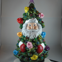 Hand Painted Ceramic Novelty Christmas Xmas Tree G9 LED Table Lamp Decoration.