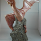 Ceramic Hand Painted Large Red Gold Dragon Animal Creature Fantasy Ornament.