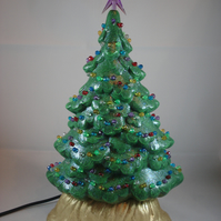 Ceramic Hand Painted Small Slim Green Christmas Xmas Tree Table Lamp Decoration.