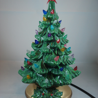Ceramic Hand Painted Small Green Christmas Xmas Tree LED Table Lamp Decoration.