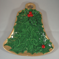 Ceramic Hand Painted Christmas Xmas Gold Green Red Holly Dish Table Decoration.