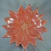 Ceramic Hand Painted Red Christmas Xmas Poinsettia Flower Dish Table Decoration.