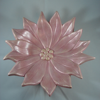 Ceramic Pink Poinsettia Flower Decorative Ornamental Christmas Dish Decoration.