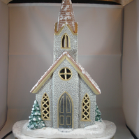 Ceramic Hand Painted Christmas Xmas Snowy Church LED Table Lamp Decoration.
