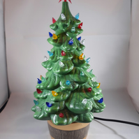 Ceramic Hand Painted Green Christmas Xmas Tree G9 LED Table Lamp Decoration.