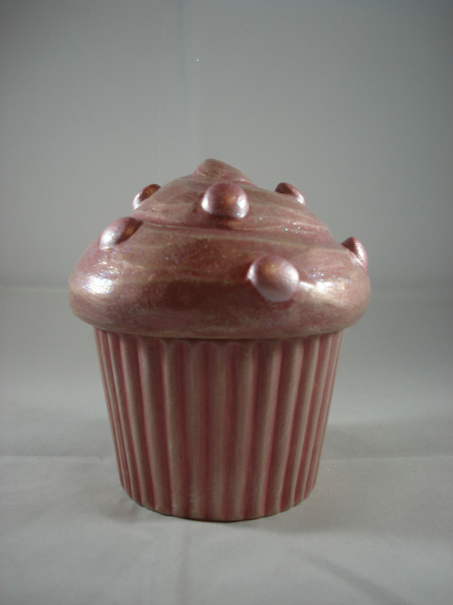 Ceramic Hand Painted Pink Cup Cake Muffin Cake Trinket Box Jewellery Case Pot.