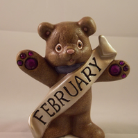 Ceramic Hand Painted Keepsake February Birthstone Bear Animal Figurine Ornament.